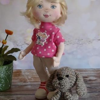 Текстильная кукла с собачкой. Кукла для девочки. Мягкая игрушка. Подарок на день рождение.