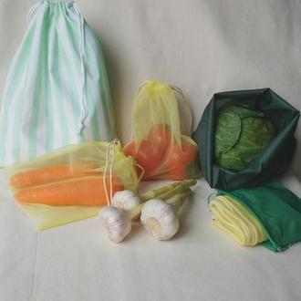 Эко мешочки для овощей 6шт + чехол. Экомешочки, фруктовки, тканевые пакеты