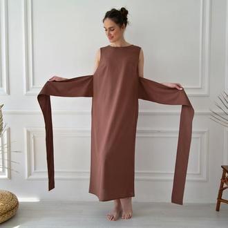 Льняное платье кимоно с широким поясом Linen Kimono Dress