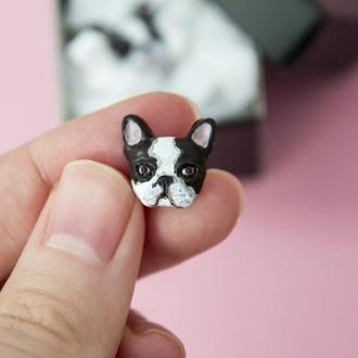 Серьги гвоздики французский бульдог, стильные реалистичные серьги собака, портрет питомца