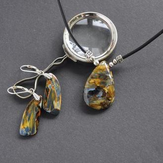 """набор украшений серьги и кулон из уникального камня петерсита """"Путешествие в пустыню"""""""