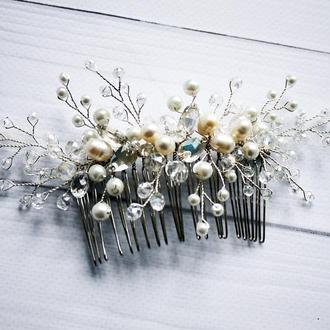 Свадебный гребень для волос с речным жемчугом
