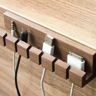 Деревянный органайзер для шнуров и кабеля