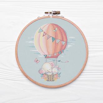 """Схема для вышивки крестом """"На воздушном шаре"""""""