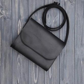Женская сумка из натуральной матовой кожи El Monte black vintage