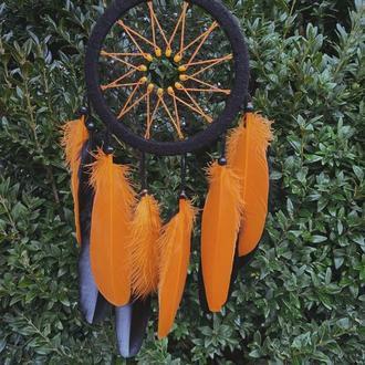 Ловец снов в оранжевых тонах. Оригинальный подарок парню или девушке.