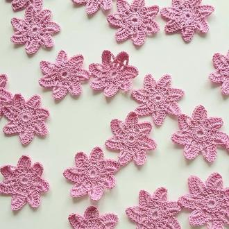 Вязаные цветы звезды 5см, розовые, желтые, персиковые для любого декора, скрапбукинга, аппликаций