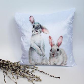 Подушка кролик, плюшева подушка на Великдень, пасхальні подарунки, подушка заєць