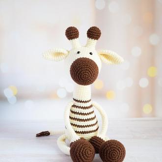 Нежный молочно-шоколадный жираф. Первая игрушка. Интерьерная игрушка. Подарок ребенку.