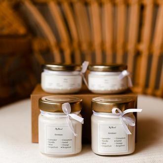 Соевые свечи с деревянным фитилем и эфирными маслами ручной работы