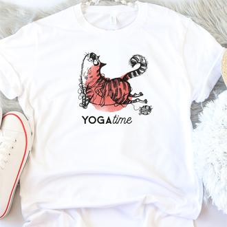 Женская футболка Yoga cat