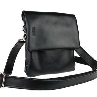 Кожаная сумка планшетка SMVP50 черная гладкая кожа