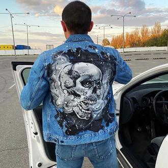 Мужская джинсовая куртка с ручной росписью