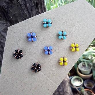 Серьги гвоздики цветочки