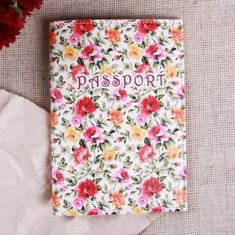 """Обложка на паспорт эко - кожа """"Цветы"""""""