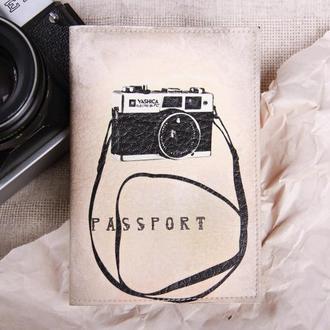 """Обложка на паспорт эко - кожа """"Фотоаппарат"""""""