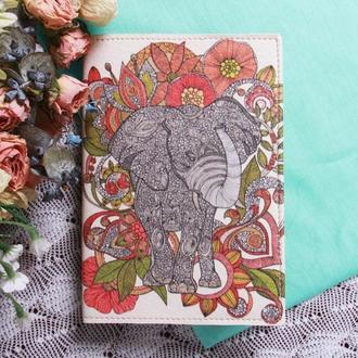 """Обложка на паспорт эко - кожа """"Слон"""""""