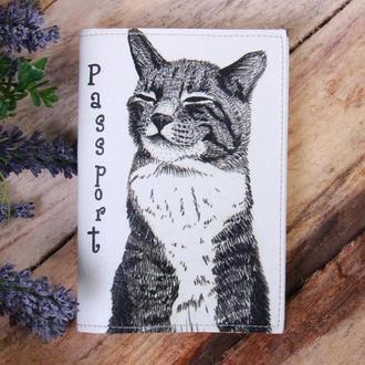 """Обложка на паспорт эко - кожа """"Кошка"""""""