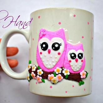 Чашка с совами из полимерной глины, чашка сова декор из полимерной глины, кружка из полимерной глины