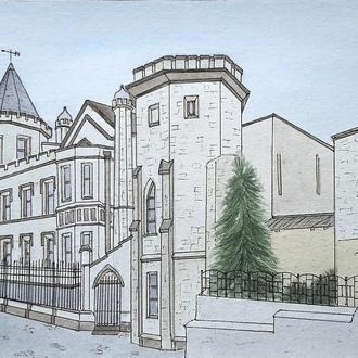 """Рисунок акварель """" Старый замок"""""""