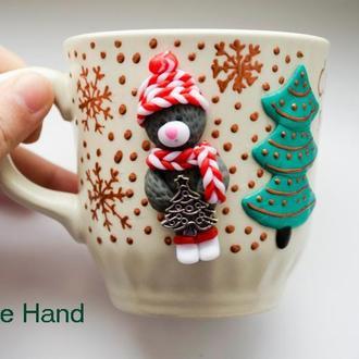 Чашка с мишкой тедди, кружка мишка тедди из полимерной глины, тедди из полимерной глины