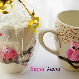Чашка из полимерной глины, кружка декор из полимерной глины, чашка с совами из полимерной глины