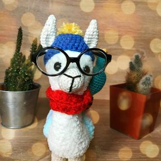 В'язані тваринки. Плюшева альпака. Іграшка лама в окулярах. Екоіграшка. Лама гачком.