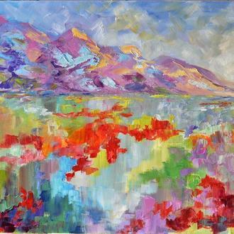 """Картина маслом """"Сиреневые грёзы"""" пейзаж живопись 50х60 см"""