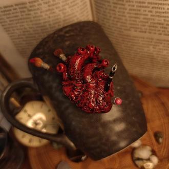 Чашка анатомическое сердце полимерная глина чашка в подарок художнику, подруге, врачу