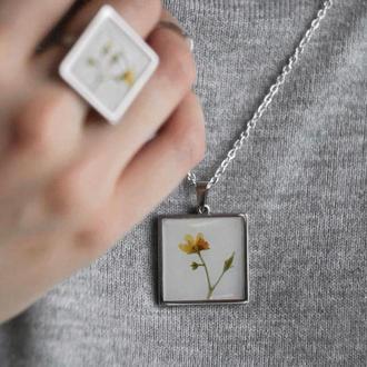 Шикарный набор украшений цветы квадратная форма
