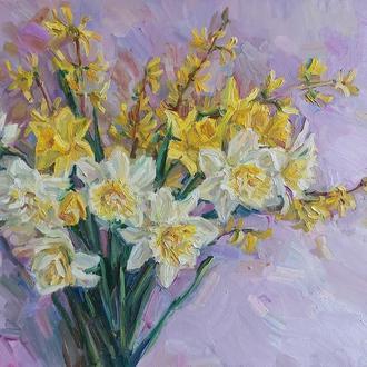 Картина олійними фарбами квіти букет нарцисів