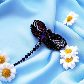 Брошь стрекоза с кристаллом, подарок для женщины