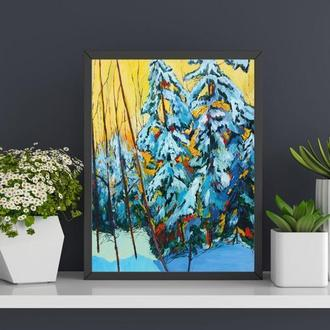 Картина маслом Зимний лес