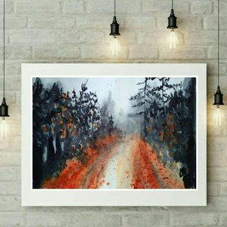 "картина акварель ""дорога"""