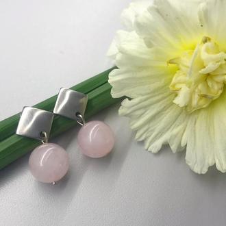 Сережки: рожевий кварц,нержавіюча сталь