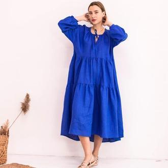 Синее платье в стиле бохо из льна