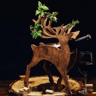 "Деревянная подставка для вина ""Олень"""