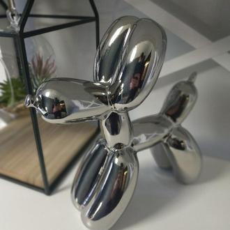Статуэтка Собака Керамическая Дизайн Balloon Dog Джеффа Кунса h=24см Серебро