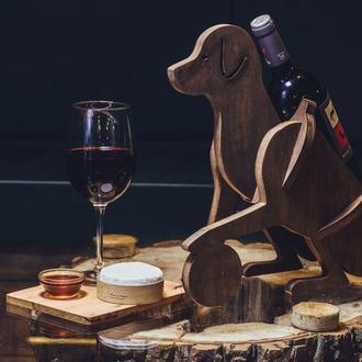 """Деревянная подставка для вина """"Собака"""""""