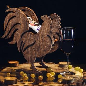 """Деревянная подставка для вина """"Петух"""""""