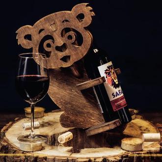 "Деревянная подставка для вина ""Панда"""
