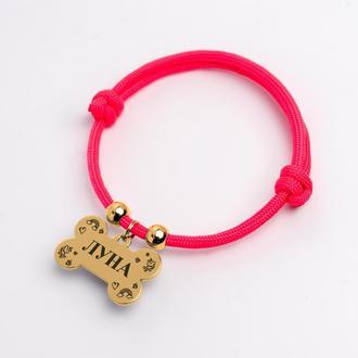 Жетон адресник маленькая косточка для собаки с лазерной гравировкой имени и номера телефона + шнурок