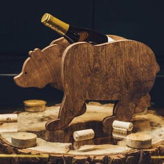 "Деревянная подставка для вина ""Медведь"""