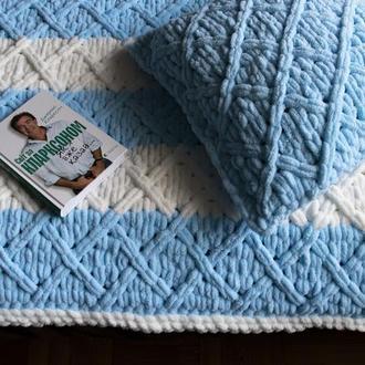 Мягкий плед голубого цвета (покрывало) из плюшевой пряжи 150*200 см (для кровати, дивана)
