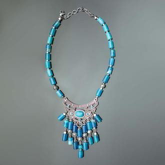 Синий агат. Подвеска латунь, серебро 830 пробы