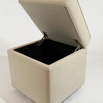 Пуф PidVushko Melva 06 зі скринькою для зберігання 47х47x45 см см Світло-бежевий