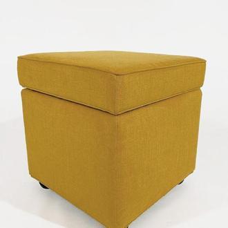 Пуф PidVushko Lucky 23 зі скринькою для зберігання 47х47х45 см Жовто-гірчичний