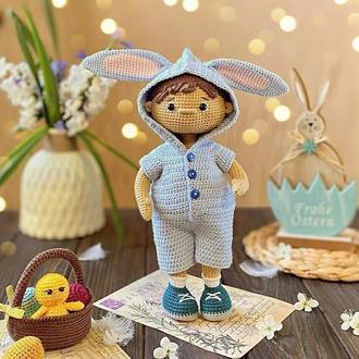 Экоигрушка. Вязаная кукла.Интерьерная игрушка. Кукла.Зайчик. Игрушка для девочки. Подарок ребенку.