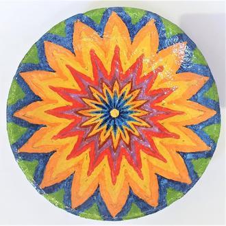 """Декоративная тарелка диаметром 30 см """"Сияние""""  шамотной трипольской глины"""