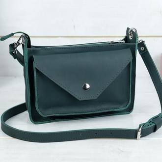 """Кожаная женская сумочка """"Уголок"""", кожа Grand, цвет зеленый"""
